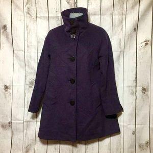 Ellen Tracy Luxe Purple Angora Wool Peacoat 4P 4 P